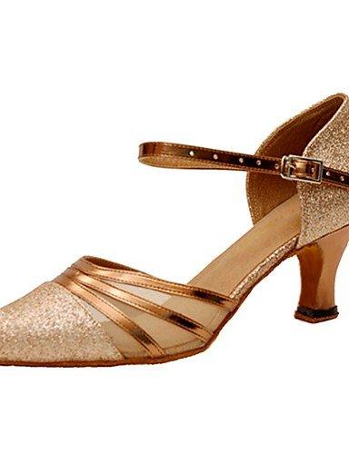 La mode moderne Sandales femmes personnalisables Chaussures de danse latine Glitter mousseux/moderne/Sandales talons talon intérieur/professionnel personnalisé,Golden,US7.5/UE38/UK5.5/CN38