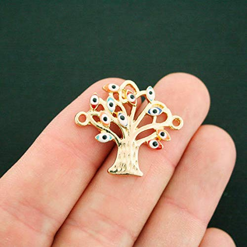 Tree of Life Connector Charm Gold Tone with Enamel Evil Eyes Jewelry Making Supply Pendant Bracelet DIY Crafting by Wholesale Charms