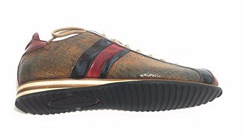 Harris Scarpe Uomo Sneaker Intreccio Kabul Marrone/Petrol Punta Rosso U17HA65 (5UK-39IT)