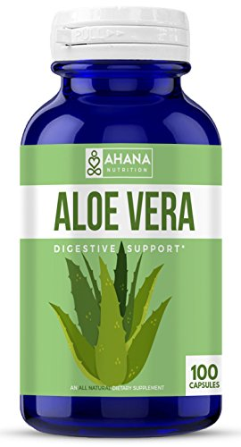 Ahana Nutrition Aloe Vera Capsules - Pure Aloe Vera Extract Pills to Support Blood Sugar Levels, Aid Digestion & Serves As an Anti-Inflammatory (450mg-100ct)