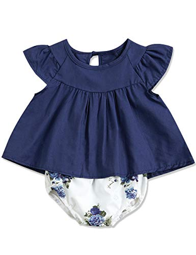 KANGKANG Newborn Baby-Girls Clothes Kids Floral Dress +Short Pant Summer Outfit 6-12 Months Dark Blue