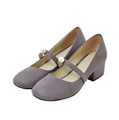 Odomolor Women's Solid Frosted Low-Heels Pull-On Closed-Toe Pumps-Shoes, Gray, 36