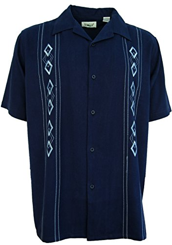 Mens Silk Camp Shirt Navy Button Front Embroidered (XL)