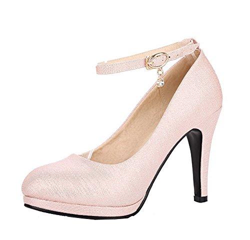 Fibbia Trafilatura Rosa AgooLar Alto Flats GMMDB007169 Puro Tonda Punta Ballet Donna Tacco qp60w