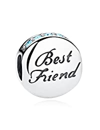 PAHALA 925 Sterling Silver Romantic Best Friend With Blue Crystals Charms Fit Bracelets Necklace