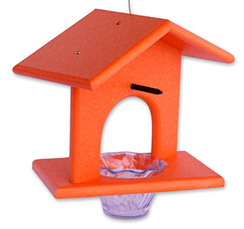 (Amish-Made Oriole Bird Feeder, Eco-Friendly Poly-Wood Hanging Decorative Oriole Jelly Feeder (Orange) )
