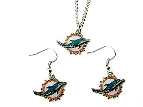 NFL Miami Dolphins Logo Earrings & Pendant Set