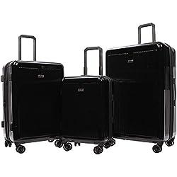 Revo Luna Hardside 3 Piece Luggage Set Made in the USA Black