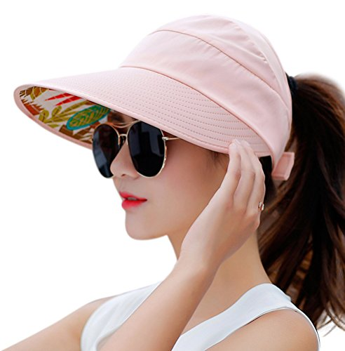 HINDAWI Sun Hats for Women Wide Brim Sun Hat UV Protection Floppy Beach Packable Caps Pink