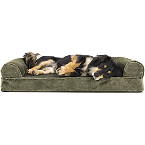 Furhaven Pet Dog Bed | Orthopedic Faux Fur & Velvet Traditional Sofa-Style Living Room Couch Pet Bed w/ Removable Cover for Dogs & Cats, Dark Sage, Medium