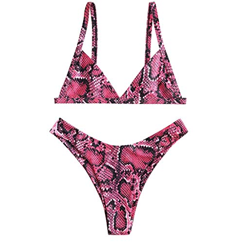 fb5eef52e32 👙Women Snake Skin High Cut V Neck Top Thong Two Pieces Bikini  Swimwear Ladies Swimsuit Beachwear (M, Pink)