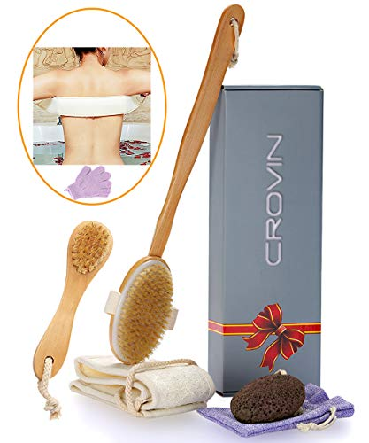 Dry Brushing Body Brush - Natural Boar Bristle Dry Brush Set for Body and Face Brushing - Ski Brushing - Loofah Back Scrubber - Bath and Shower Gloves - Pumice Stone Foot Scrub - Men and Women