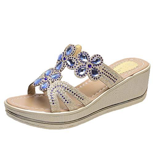 ONLYTOP_Shoes Wedges Slide Sandals,ONLYTOP Womens Comfortable Beach Shoes Bohemian Rhinestone Beaded Flip Flops Open Toe Sandals
