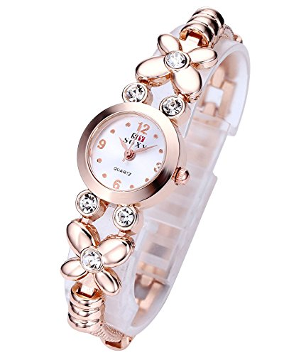 Top Plaza Fashion Womens Girls Crystal Accented Flower Design Rose Gold Metal Luxury Bracelet Watch (Rose Gold Flower ()