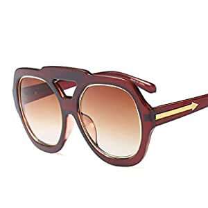 LUKEEXIN Oversized Special Nose Bridge Women's Sunglasses UV Protection for Driving Vacation Summer Beach (Color : Coffee)