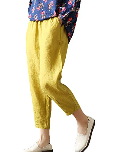 Yellow Pants Ankle - LaovanIn Women's Linen Cropped Pants Tapered Ankle Capris Trousers Elastic Waist Large Yellow