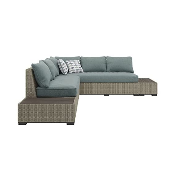 Ashley Furniture Signature Design - Silent Brook 3-Piece Outdoor Seating Set - Sofa, Loveseat Sectional & 2 End Tables - Beige & Blue - OUTDOOR SECTIONAL: Elevate your outdoor space while also staying stylish and carefree. This set's soothing sage cushions and versatile design make for a charming seat by the fire pit DURABLE DESIGN: Made with an all-weather resin wicker cover over a rust proof aluminum frame. Zippered cushions are covered in high-performing Nuvella polyester. Includes 2 throw pillows MODULAR DESIGN: Thanks to the modular, armless design, you have the freedom to arrange all the pieces to best fit your decor on your patio, balcony or screened in porch - patio-furniture, patio, conversation-sets - 41goocccvML. SS570  -
