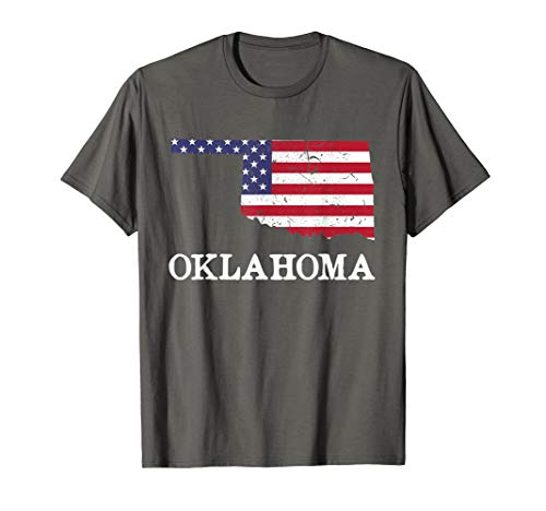 Oklahoma Map State American Flag Shirt 4th Of July Pride Tee