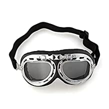 SODIAL(R) Vintage Style Aviator Motorcycle Bike Goggles Helmet Glasses Protection New