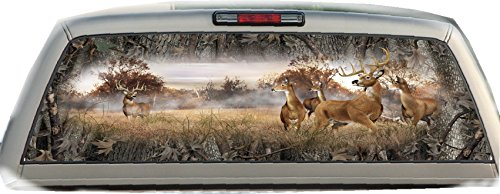 Bucks & Does- Oak Ambush Camo - 17 inches- by- 56 inches- Compact Pickup Truck- Rear Window Graphic-(PLEASE MEASURE YOUR WINDOW PRIOR TO ORDERING)