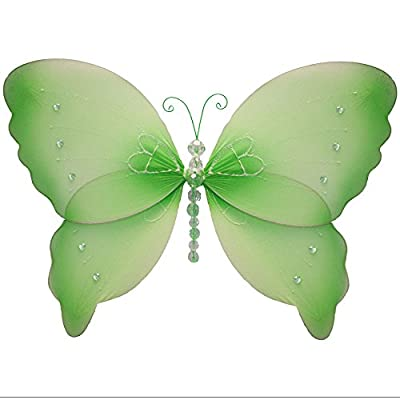 """Butterfly Decorations 13"""" Large Green Crystal Nylon Hanging Butterflies. Decorate a Baby Nursery Bedroom, Girls Room Ceiling Wall Decor, Wedding Birthday Party, Bridal Baby Shower, Bathroom. Kids Childrens Butterfly Deco"""