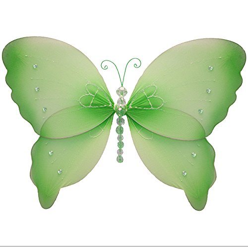 """Butterfly Decorations 13"""" Large Green Crystal Nylon Hanging Butterflies Decorate Baby Nursery Bedroom Girls Room Ceiling Wall Decor Wedding Birthday Party Shower Kids Butterfly Decoration Art Craft"""