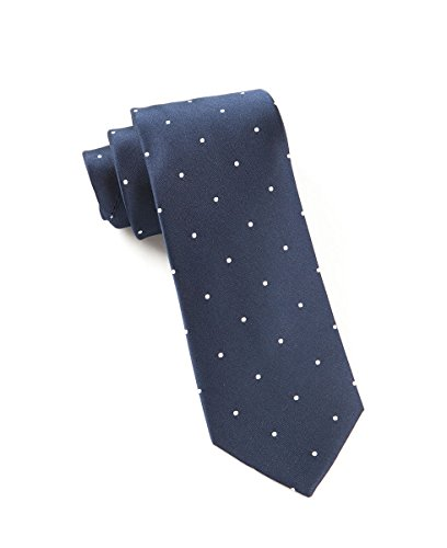 The Tie Bar 100% Woven Silk Navy and White Satin Dot Skinny -
