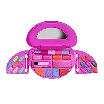 Playkidz My First Princess Makeup Chest, Girl's All-in-One Travel Cosmetic and Real Makeup Palette with Mirror (Washable): Toys & Games