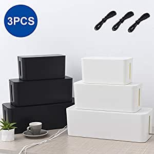 Set of 3 Cable Management Boxes Cords Organizer Large Storage Holder Wire Hider Charger Concealer Surge Protector w/3 Cable Ties for Desk Floor TV Computer USB Hub System to Cover Hide Power Strips