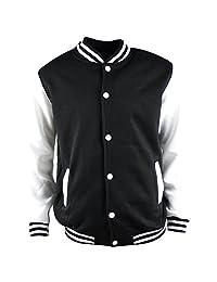 Mens Stand Collar Fleeced Varsity Bomber Baseball Jacket Coat Sweatshirt Outwear