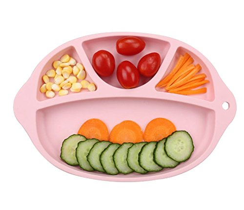 LLZJ Babies Silicone Suction Bowl Suction Stay Put Separate Placemat Antidérapant Anti-Fall Toddler Training Feeding Dishes Tableware Children's Cutlery,A by LLZJ