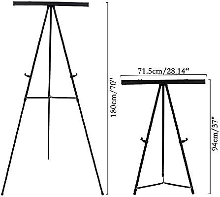 Caballete Aluminio Rotafolio - Caballete Metalico Presentaciones Altura Ajustable 180cm - Trípode negro con Patas Telescópicas - Caballete Portatil ...