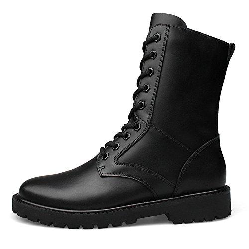 Chaussures Velvet warm Hommes En Souliers Bottes Black Militaires Option Chenjuan Warm Moyenne Hommes Taller Taille De Mi Cuir Pour haute ZOdB6q
