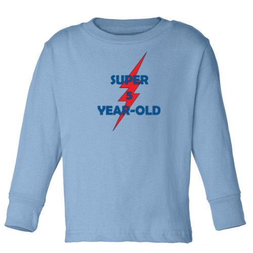 Festive Threads Youth - Super 5-Year Old - Cotton Youth Long Sleeve T-Shirt (Light Blue,Youth Small)