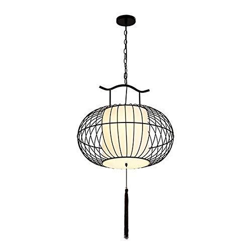 Creative Bird Cage Chandelier, Personalized Restaurant Decoration Lamps Bar Club Fabric Decorative Lights Multi-Size Black Gold (Color : Black, Size : 55cm) ()