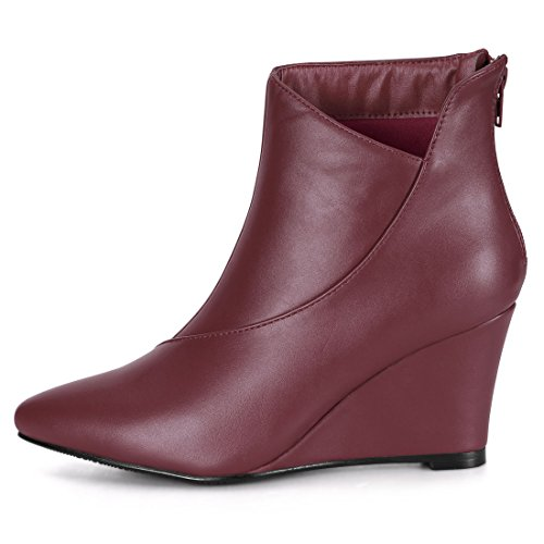 Allegra Toe Pointed K Wedge UK 7 Women's Zipper Burgundy Boots qqv1r4B