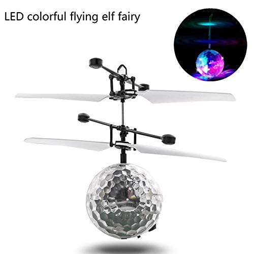 MCJL Remote Control Aircraft Crystal Ball Induction Aircraft Colorful Glare Remote Control Flying Ball Suspension Toy ()