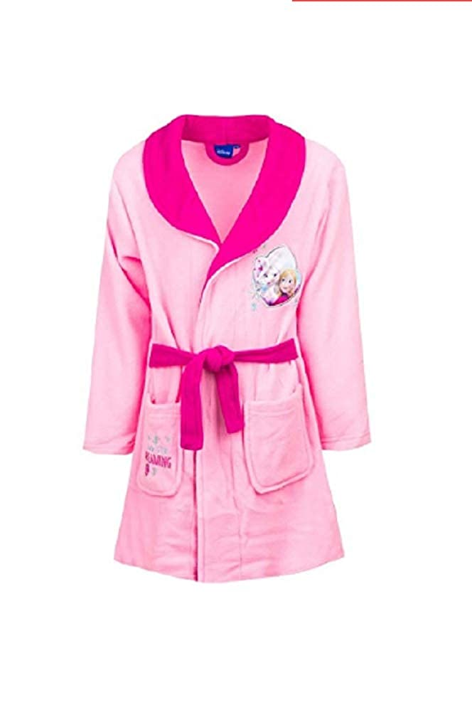 GladRags Girls Frozen Dressing Gown Size 3 4 5 6 7 8 Years Character Fleece Bathrobe (4-5 Years, Pink Tie Waist)