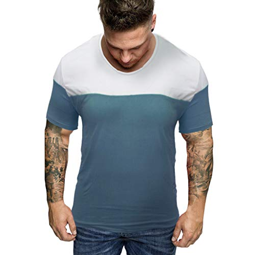 iHPH7 T-Shirt Men Tech Short Sleeve Fashion Slim Fit Patchwork Short Sleeved T-Shirt Top Blouse XL -