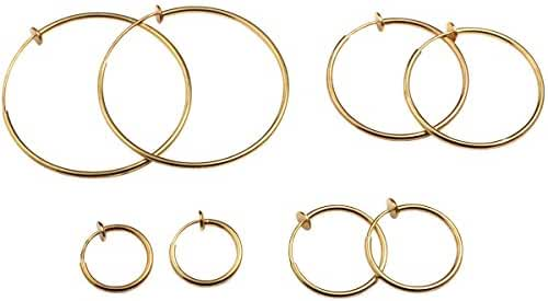 Evelots Spring Hoop Earrings Varied Sizes Silver & Gold Toned,Non Pierce, 4 Set