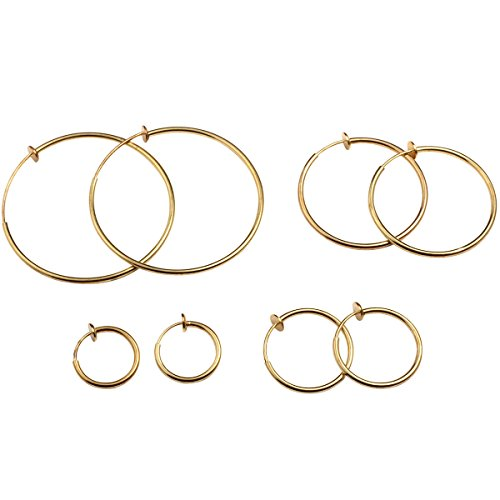 Evelots Gold/Silver ClipOn Spring Hoop Earring-Pinch Free-No Piercing-4 Size Set