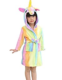 Mobarta Kids Unicorn Hooded Robe Coral Fleece Sleepwear Soft Pajamas Bathrobe
