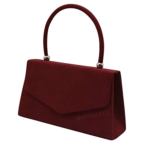 Velvet Fashion Handle Bag Womens New Shoulder Burgundy Clutch Girly Suede Colors Celeb Handbags 0BKZOw