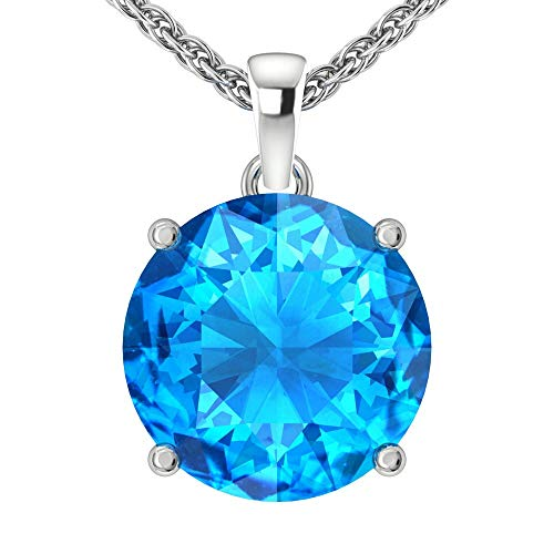 Belinda Jewelz 14k Rhodium Plated White Gold Round Cut Gemstone Sparkling Rope Chain Sterling Silver Birthstone Fine Jewelry Classic Women Hanging Pendant Necklace, 4.1 Carat Swiss Blue Topaz, 18