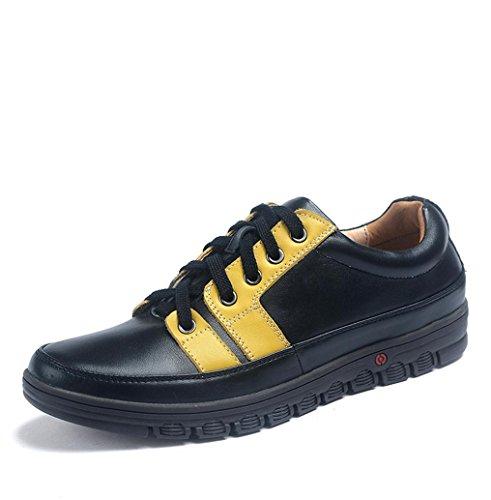 Heart&M diario casual cuero de los hombres ronda toe zapatos de cuero con cordones Black