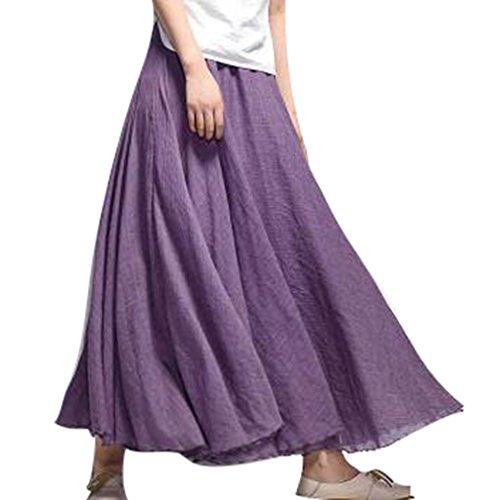 Confortable Jupe Coton Longues Doux Taille Violet Couche Haute A juqilu 20 Jupe Double Lin Jupes Dames Couleurs gRER6Hwq7