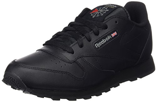 4ebce0da2b3ce Galleon - Reebok Classic Leather Black Youths Trainers Size 4 UK