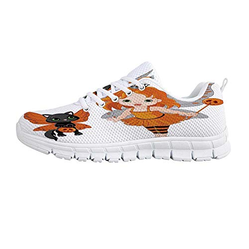 YOLIYANA Halloween Sport Shoes,Halloween Baby Fairy and Her Cat in Costumes Butterflies Girls Kids Room Decor Decorative Sneakers for Girls Womens,US Size 7 -