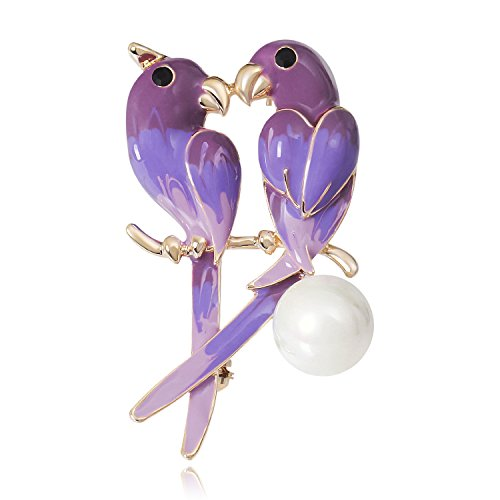 DMI Unique Jewelry Gold-Tone Simulated Pearl Purple Enameled Sweet Love Bird Pin - Bird Enameled Pin