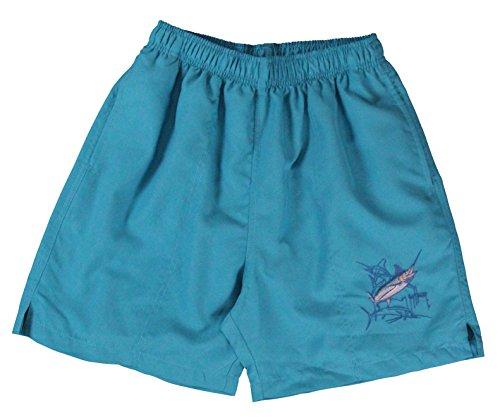 Guy Harvey Men's Grand Slam Lined Swim Trunks (Turquoise, Small)